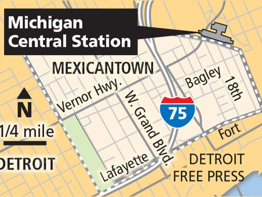 Map showing the Michigan Central train station