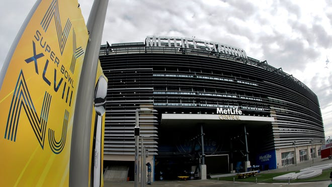 A banner is seen outside MetLife Stadium Monday Jan. 27, 2014, in East Rutherford.