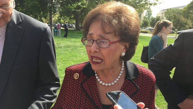 Rep. Nita Lowey, D-Harrison, talks to reporters at the U.S. Capitol on Oct. 7, 2015.