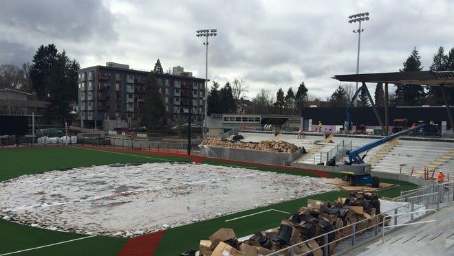 Oregon's new softball facility, Jane Sanders Stadium, under construction Tuesday.