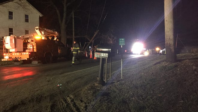 The scene at a fatal accident in Phelps, Ontario County, on Sunday night.