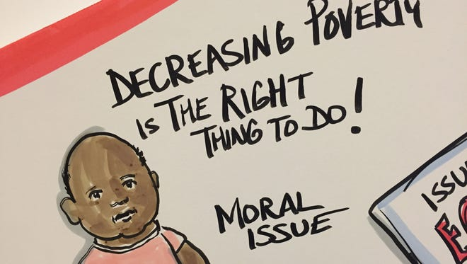 While participants discussed poverty during a summit in 2016, artists depicted what was being said on giant, interactive displays. Fewer people live in poverty today in Cincinnati, but 2 in 5 kids still do.
