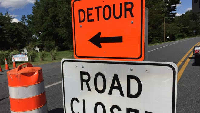 A sign marks closure of Nanticoke Road west of Salisbury.