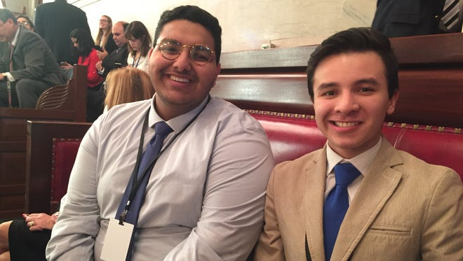 Kyrollos Shehata, left, of Yonkers Montessori Academy and Mateo Carrillo of Roosevelt High School were among about 110 students who were in attendance Monday for a meeting of New York's Electoral College.