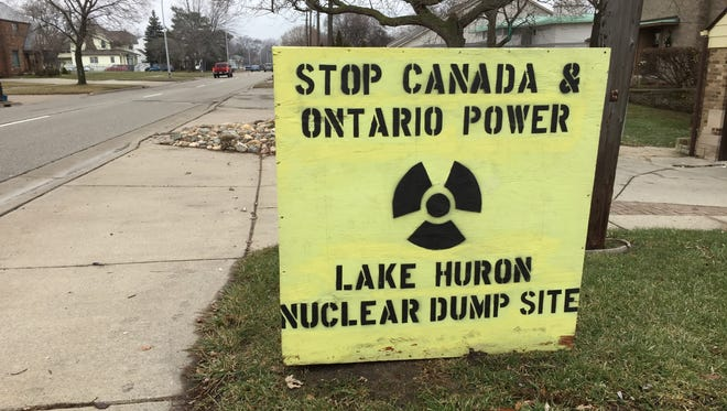 A sign on Military Street in Port Huron expresses opposition to a proposed nuclear waste facility on the shores of Lake Huron.