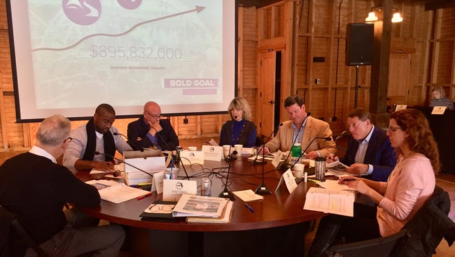 File art of Leon County commissioners meeting for their annual retreat at Goodwood Museum & Gardens.