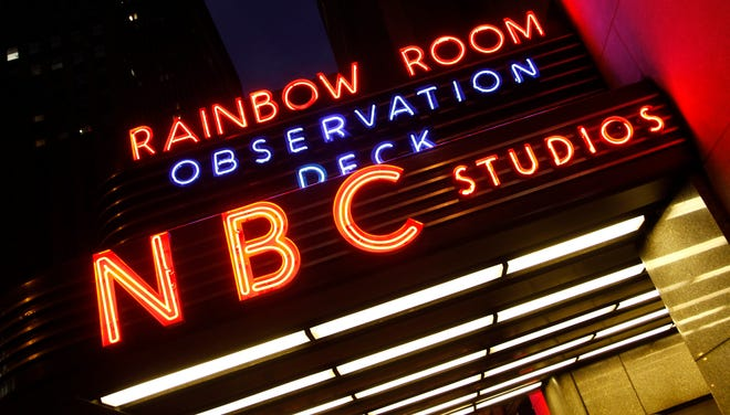 A sign advertises NBC Studios at the GE Building, part of Rockefeller Center in New York.