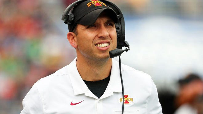 Iowa State football head coach Matt Campbell looks on against Notre Dame during the first quarter of the Camping World Bowl in Orlando, Dec. 28, 2019.