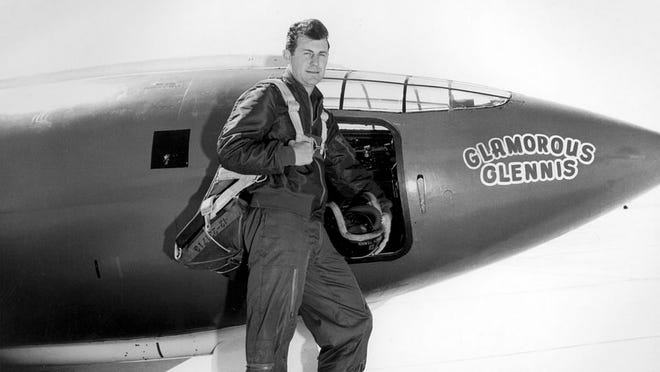 Chuck Yeager next to experimental aircraft Bell X-1 #1 Glamorous Glennis.