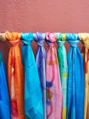 Scarves on display