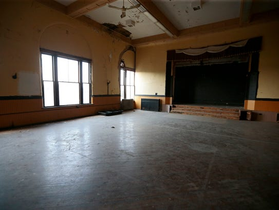 A large ballroom awaits renovation on the fourth floor