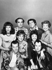 """These are the talented performers shown in December 1976 who have made the ABC Television Network comedy series, """"Laverne and Shirley,"""" one of the highest rated programs on the tube. In the second row are the title role stars; Penny Marshall, left, (Laverne) and Cindy Williams (Shirley). Front row: Michael McKean, left, (Lenny) and David L. Lander (Squiggy). Back row, (left to right) Carole Ita White (Rosie Greenbaum), Phil Foster (Frankf De Fazio, Laverne's father), Eddie Mekka (Carmine) and Betty Garret (Mrs. Babish)."""