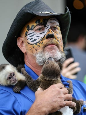 Tim Stark, with Wildlife In Need, holds a sloth on his chest as a white face capuchin monkey hangs on to his shoulder.  Wildlife In Need was one of the many vendors looking to get their message out at Give Local Louisville. September 15, 2016