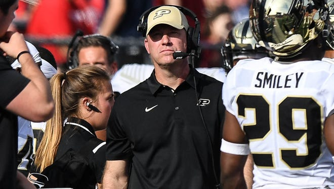 Purdue Boilermakers head coach Jeff Brohm walks the sidelines in the game against Rutgers Scarlet Knights at High Point Solutions Stadium on Oct. 21, 2017.
