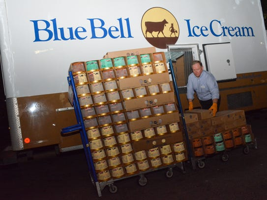The first delivery of Blue Bell Ice cream arrives at