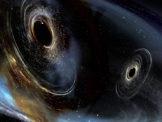 Artist's conception shows two merging black holes similar