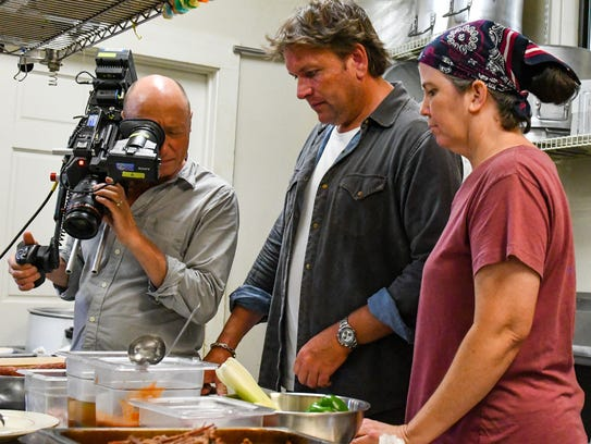 Lori Walls and Chef James Martin during the filming