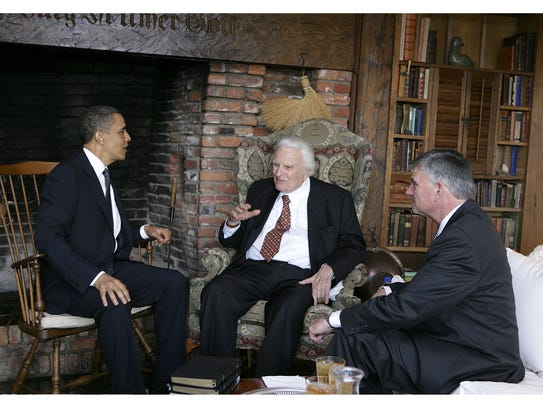 PRESIDENT BARACK OBAMA (LEFT) MEETS WITH EVANGELIST