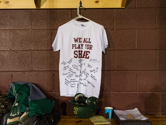 The Breaux Bridge team presented a t-shirt to Cecilia's team before the game in memory of Shae Stelly.