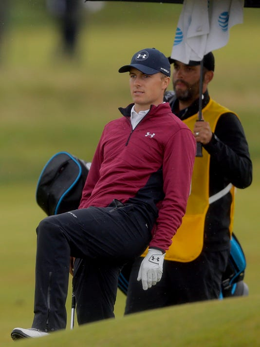 Jordan Spieth of the United States reacts after a shot on the 11th fairway during the second round of the British Open Golf Championship, at Royal Birkdale, Southport, England, Friday July 21, 2017. (AP Photo/Alastair Grant)