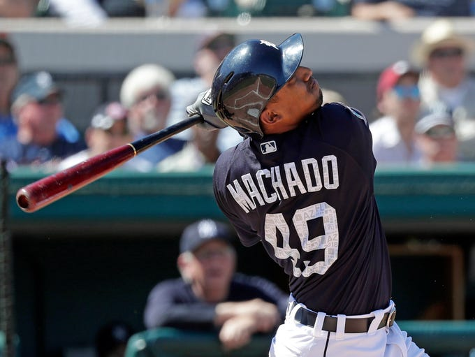 Detroit Tigers' Dixon Machado bats against the New