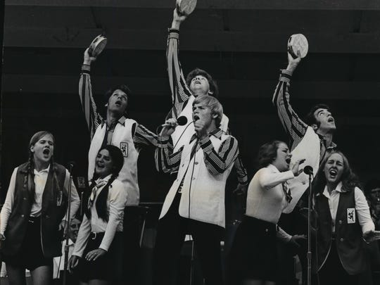 "This file photo from 1972 shows the Kids from Wisconsin going through their ""Jesus Christ Superstar"" routine at a grandstand show at the Wisconsin State Fair. The song and dance group. formed four years ago, mixes a wide variety of material in its 30 minute performance."