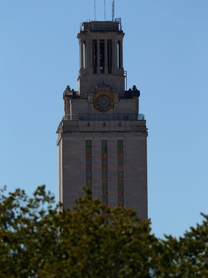 AUSTIN, TX - SEPTEMBER 21:  General view of the University of Texas Tower on the University of Texas campus on September 21, 2013 in Austin, Texas.  (Photo by Ronald Martinez/Getty Images)