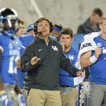UK offensive coordinator Shannon Dawson during the first half of the University of Kentucky - Florida football game at Commonwealth Stadium in Lexington, Ky., on Saturday, September 19, 2015.  Photo by Mike Weaver