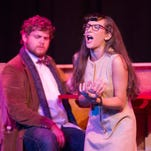 """Caroline Wolfe playing Miss Mullins and Noah Schmitt playing Dewey Finn in the  Belmont Theatre's """"School of Rock"""" rehearse Tuesday, Sept. 20, 2016."""