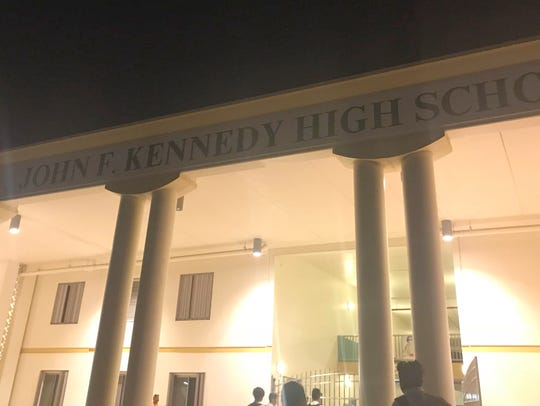 The entrance of John F. Kennedy High School after VIBEster