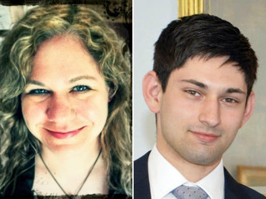Deborah Ernst, left, and Zachary Brillhart, right, are running for Conewago Township supervisor.
