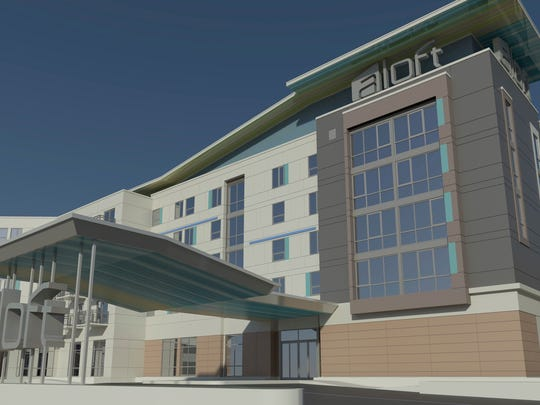 An artist rendering of the proposed Aloft hotel.