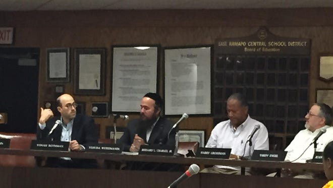 The East Ramapo school board at its July 7 organizational meeting, prior to the beginning of public comments.