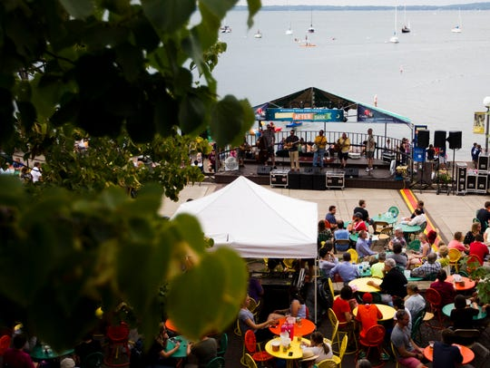 People enjoy food, drinks and music on Memorial Union