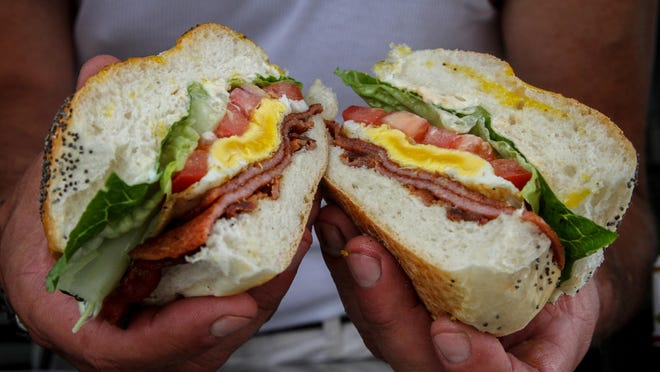 A sandwich of pork roll, bacon, lettuce and tomato from Johnny's Pork Roll.