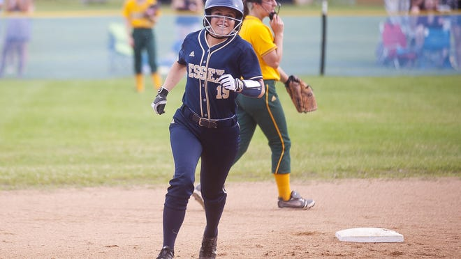 Essex's Sarah Knickerbocker rounds second base after cracking a two-run home run against BFA-St. Albans in Thursday's Division I softball semifinal in Essex.