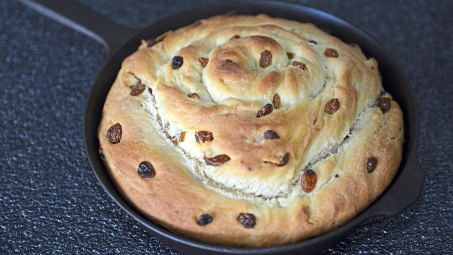 This potato-raisin bread spiral, made in a cast-iron skillet, is a nod to the old Irish fruit pan breads. The potato keeps the bread moist and flavorful for days and raisins add a natural sweetness.