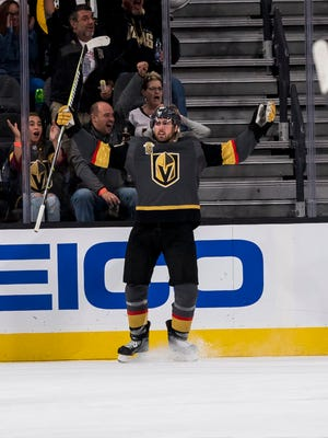 Vegas Golden Knights right wing Alex Tuch (89) celebrates after scoring against the Boston Bruins during the second period at T-Mobile Arena.