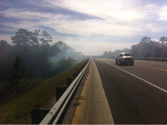 Please be advised that fire officials are seeing some smoke on area highways including U.S. 98, U.S. 90 and Interstate 10.