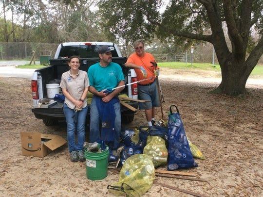 Trash cleanup at Lake Jackson. DEP will be monitoring