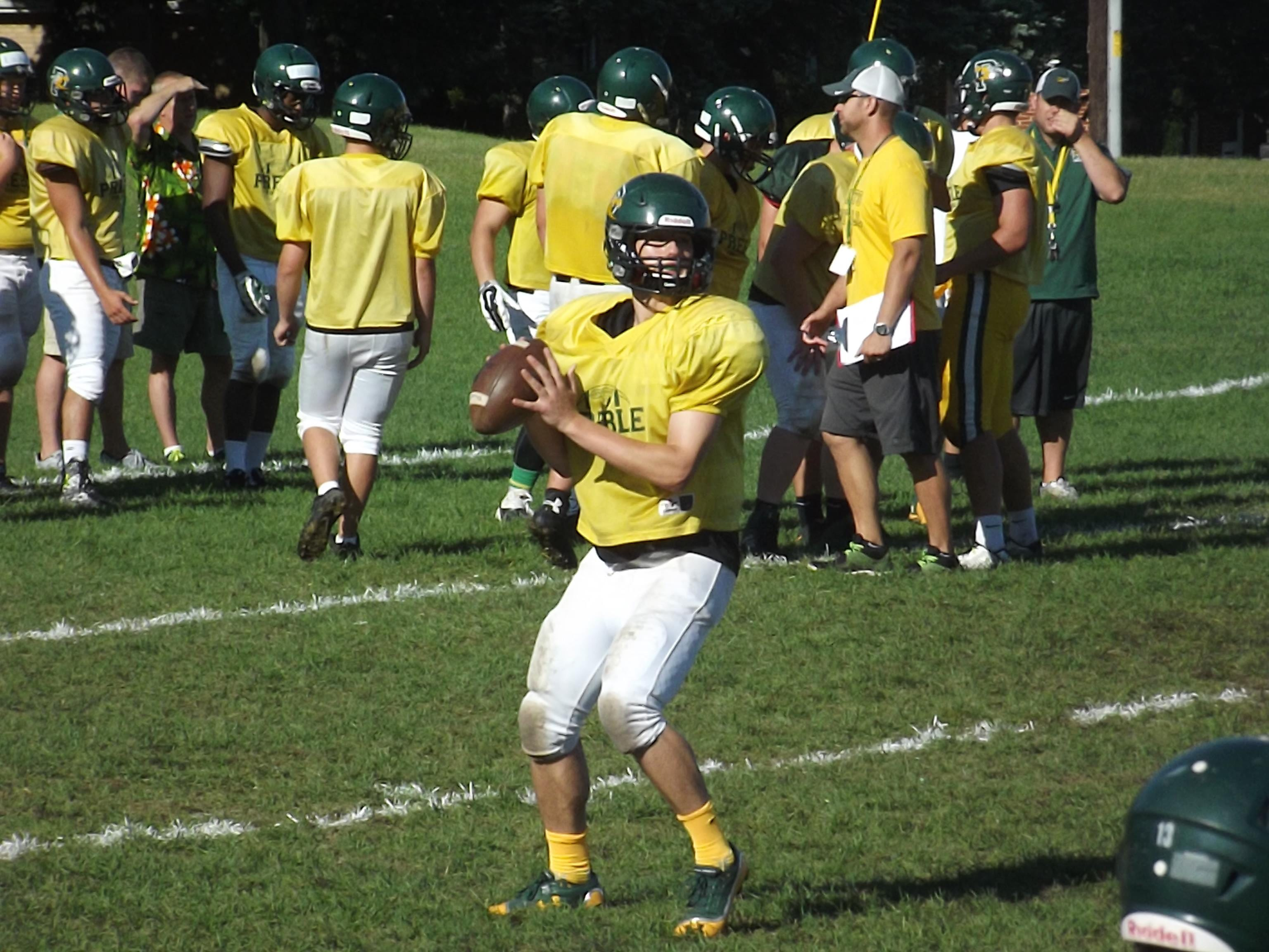 Green Bay Preble senior quarterback Dylan Van Boxel threw for 859 yards and 11 touchdowns with three interceptions last season. He's competing with junior Coy Wanner for the starting position.