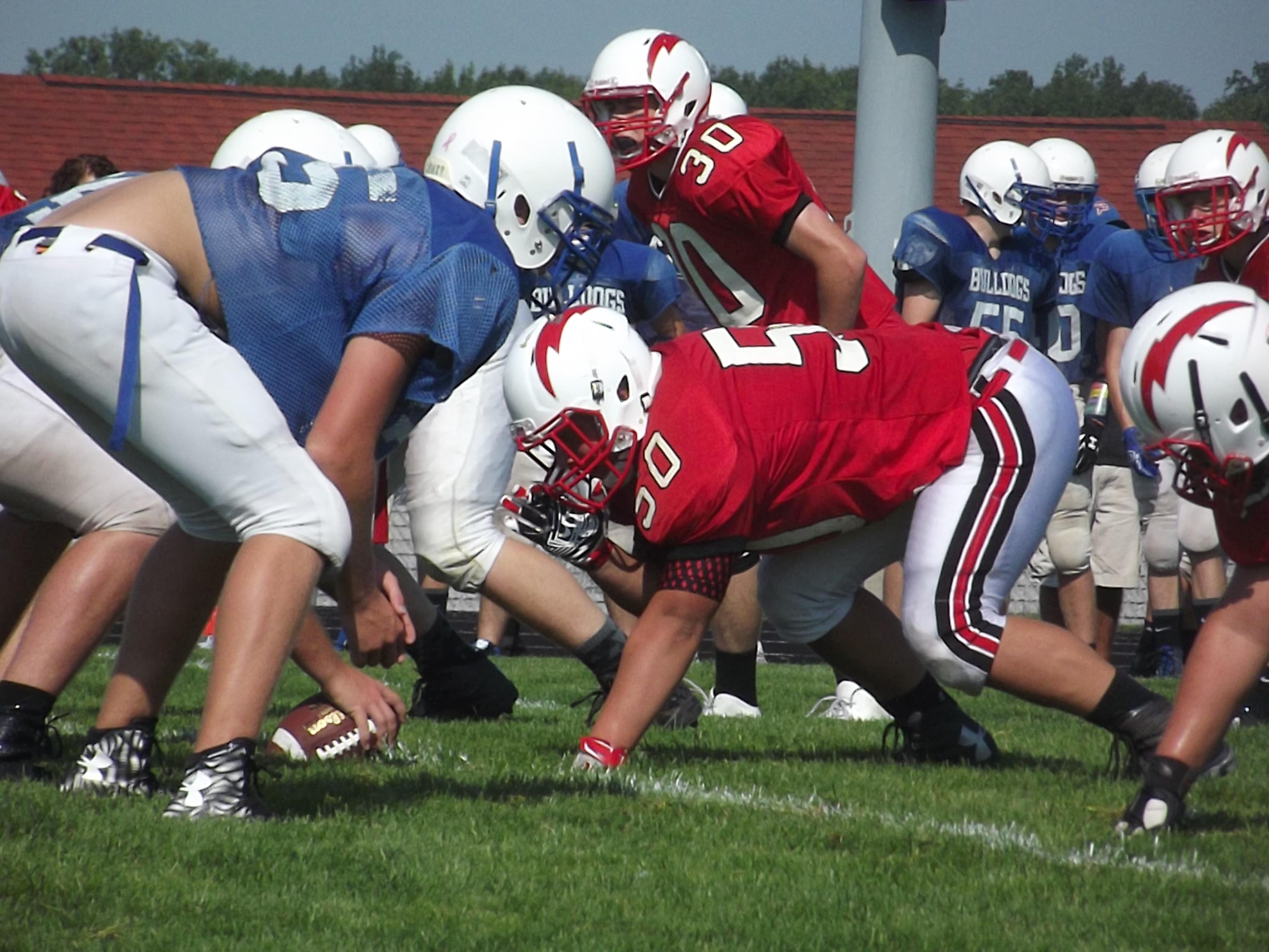 Seymour senior Trenton LaCombe lines up on the defensive line during at scrimmage Luxemburg-Casco High School Friday. LaCombe received honorable mention all-Bay Conference honors last season.