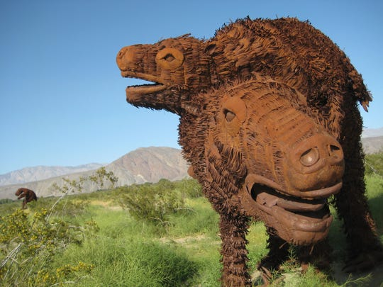 You aren't seeing a mirage when you discover dinosaurs around Borrego Springs.