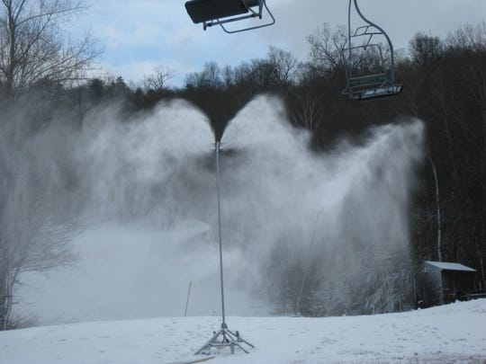 Middlebury College Snow Bowl snowmaking in action.