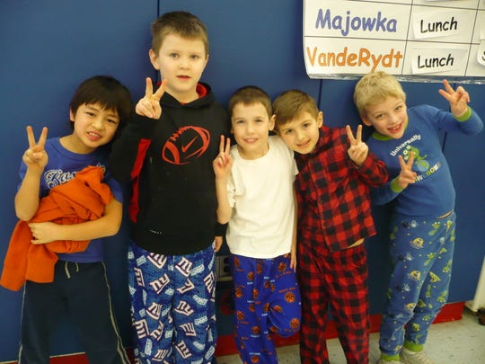 Students at Whitehouse School in Readington observed a Week of Respect at the end of February. The week culminated with Pajama Day on Feb. 27. Students and staff wore pajamas to school as a reminder to not give up on their dreams and to respect themselves and their friends. Pictured from left to right are students Luke Bielen, James Tindall, Jack Ippolito, Cameron Hess and Nathan Spicer.