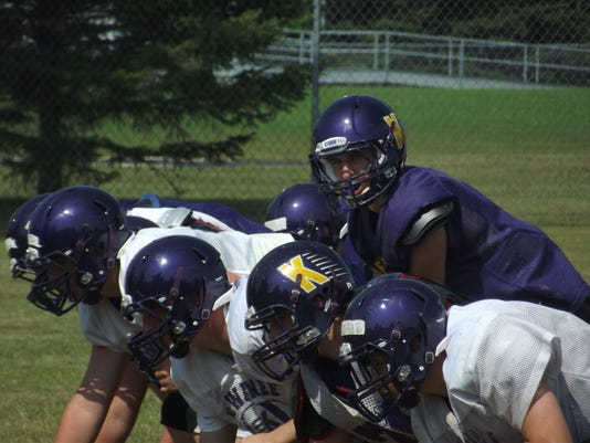 Logan Brusky gets ready to take a snap during a Kewaunee football practice o.JPG