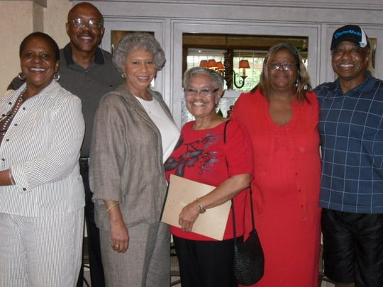 From left, Shirley McClain-Jones, Charles Everett IV, Fannie Tarrant, Adrian Harris Cyrus, Vivian Dupree Bush and Roosevelt Daniel were among the members of St. Jude's class of 1964 who planned the recent 50-year reunion.