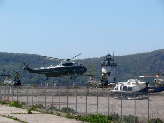 President Obama's advance team lands helicopters on Sunday at the former GM site near the Sleepy Hollow lighthouse. The team was checking the site in advance of an upcoming presidential visit.