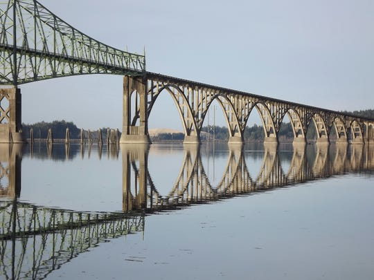 A view McCullough Bridge over Coos Bay near North Bend.
