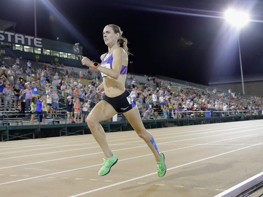 Molly Huddle runs to victory in the 10.000-meter final during Day 1 of the 2017 USA Track & Field Championships at Hornet Stadium on June 22, 2017 in Sacramento, California.